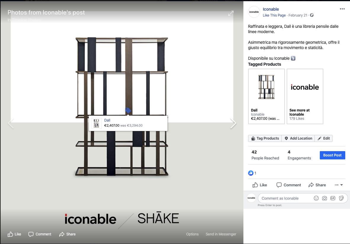 social commerce facebook tag prodotto