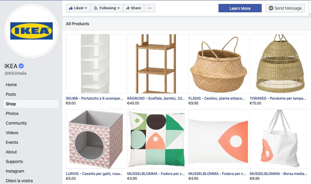 social commerce vetrina pagina facebook
